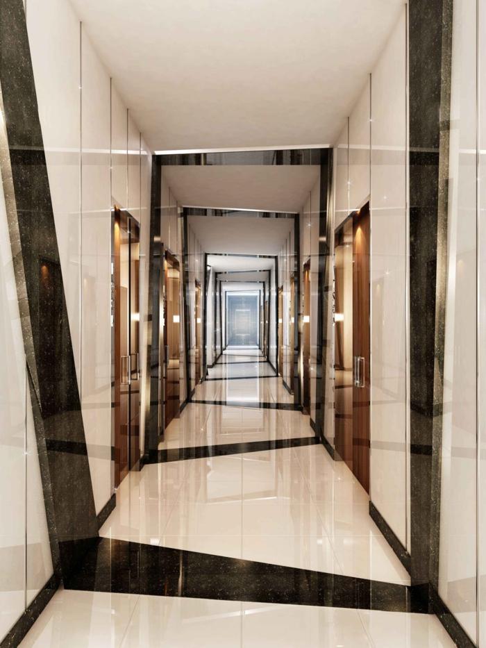 ingeniosas ideas de decoracion de pasillo, como decorar un pasillo largo, combinación de beige y negro efecto óptico