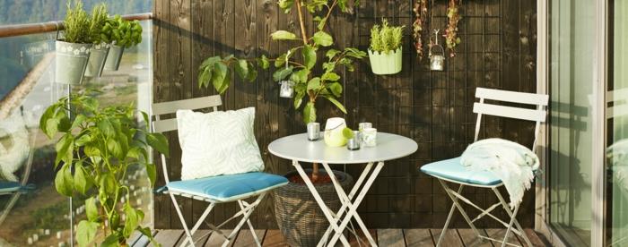terrazas pequeñas con encanto, decoración minimalista con muchas plantas verdes, peque;a mesa oval y sillas plegables