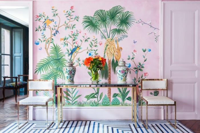 preciosas ideas para decorar con papel pintado, entrada en estilo moderno con papel pintado en rosado motivos de la jungla