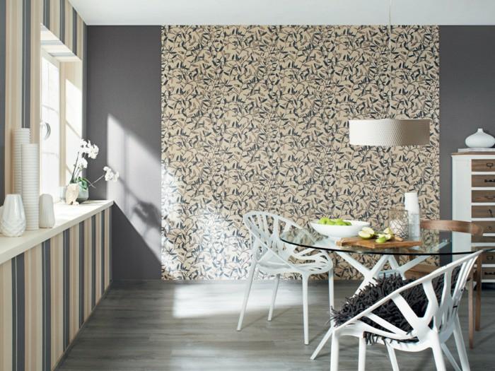 papel pintado modernos para decorar el comedor, decorar con papel pintado espacios pequeños