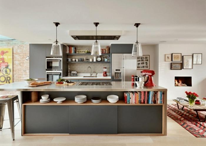 precioso ejemplo cocinas con isla , cocina en estilo industrial, tendencias diseño cocinas 2018