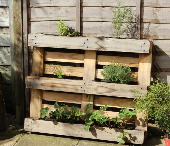 jardinera madera con macetas con fresas y plantas verdes, ideas para el jardín DIY con tutoriales paso a paso