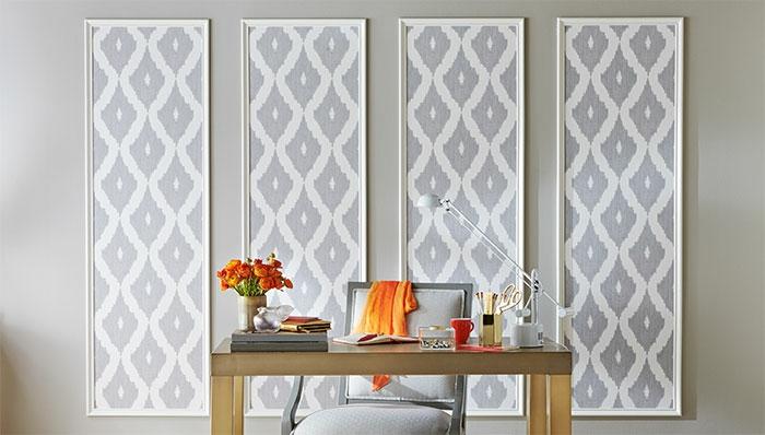 ideas originales para decorar el salón con papel vinilico, cuadros decorativos de forma rectangular con papel pintado en gris y blanco