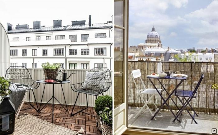 dos ejemplos de bonitas terrazas con vista, muebles pequeños y sillas plegables y suelo de parquet, decoracion terrazas pequeñas