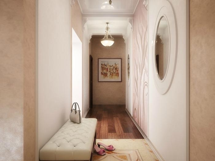 ideas sobre cómo decorar un pasillo largo moderno en tonos claros pasteles, banco de piel en capitoné en beige