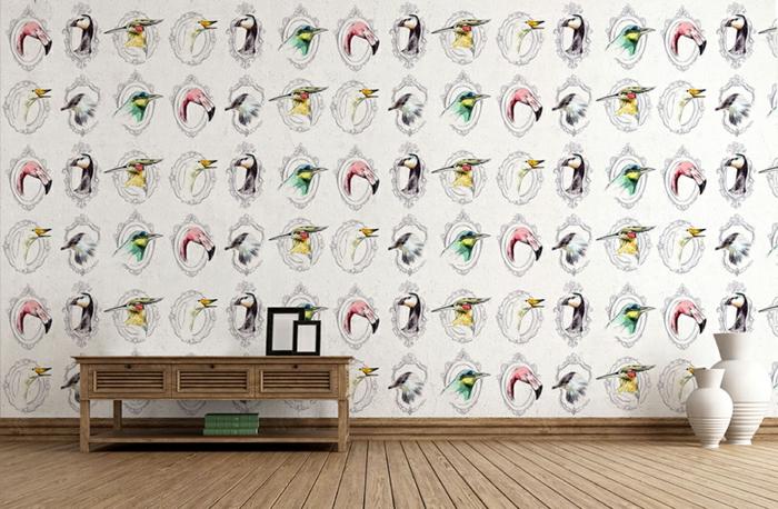 ideas de decoració originales con papel vinilico con dibujos de aves, suelo de parquet y decoración minimalista