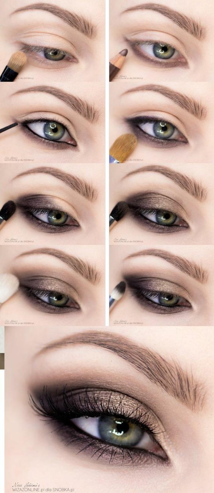 cómo maquillarse los ojos paso a paso para conseguir un maquillaje de día ahumado son sombras en dorado