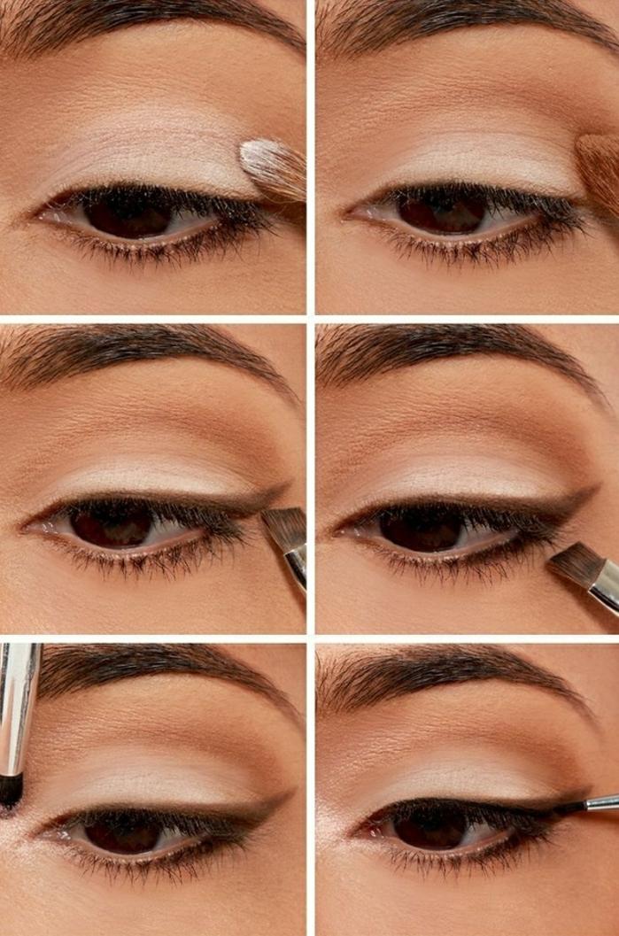 pasos para conseguir un maquillaje ojos simple y natural con la ayuda de un lápiz marrón y sombras claras