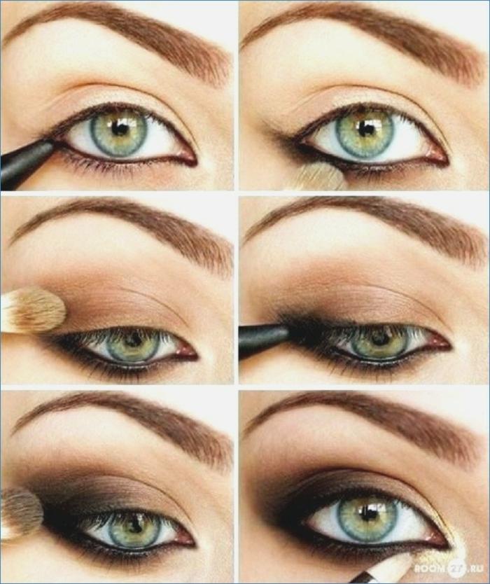 maquillaje ojos de encanto, pasos para conseguir smookey eyes, sombras de ojos en beige y marrón