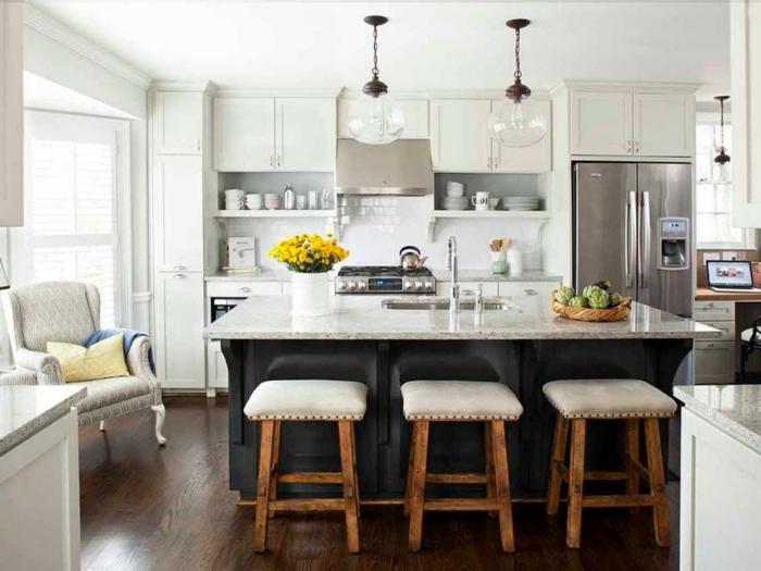 ideas de decoración de cocinas 2018, cocinas modernas blancas con grandes islas