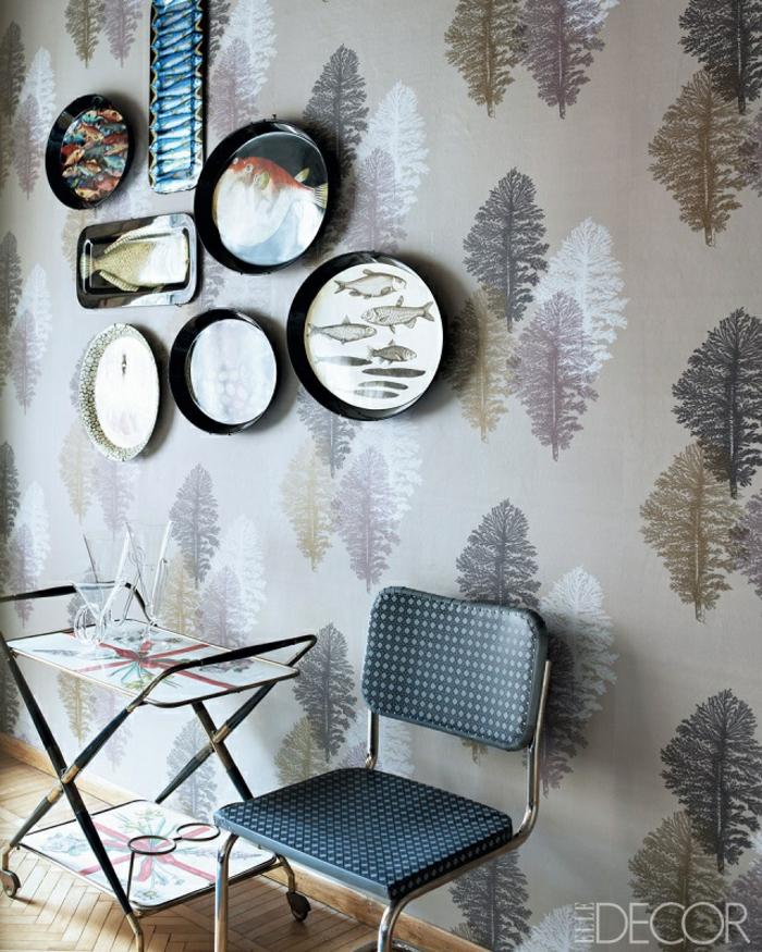 habitación moderna decorada en tonos terrestres estilo boho chic, papel pintado habitacion moderno
