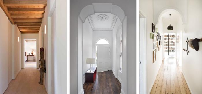 tres ideas sobre como decorar un pasillo largo y estrecho en colores claros y estilo minimalista, propuestas modernas sin mucha decoracion