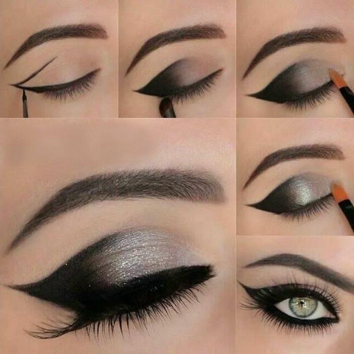 como maquillarse los ojos para conseguir el efecto ojos gato, sombras en negro y plateado