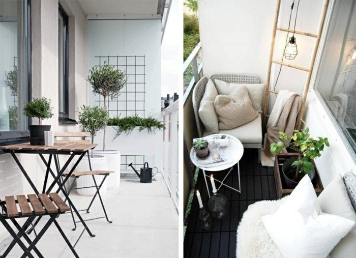 dos ejemplos de decoracion terrazas aticos en estilo escandinavo, detalles en colores claros y plantas verdes