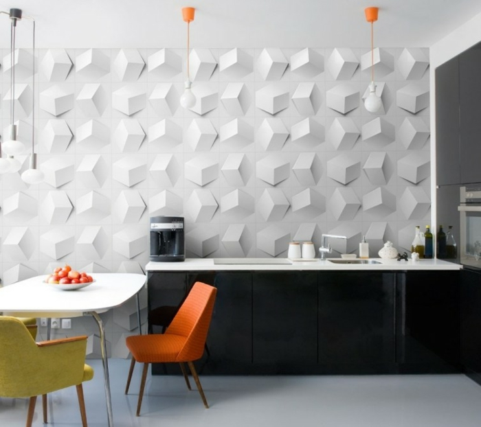 пapel pintado con efecto 3 d y estructuras abstractas, papel pintado habitacion moderno en colores claros