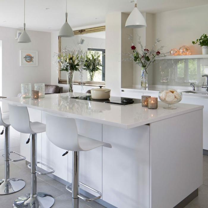 precioso diseño moderno en blanco, cocinas pequeñas con isla funcionales y bonitas