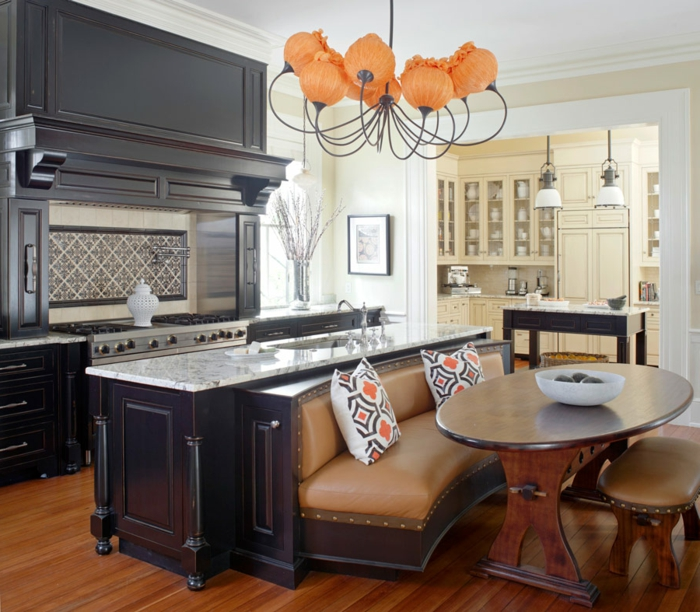 precioso diseño con isla original multifuncional unida al sofá, cocinas pequeñas con isla decoración