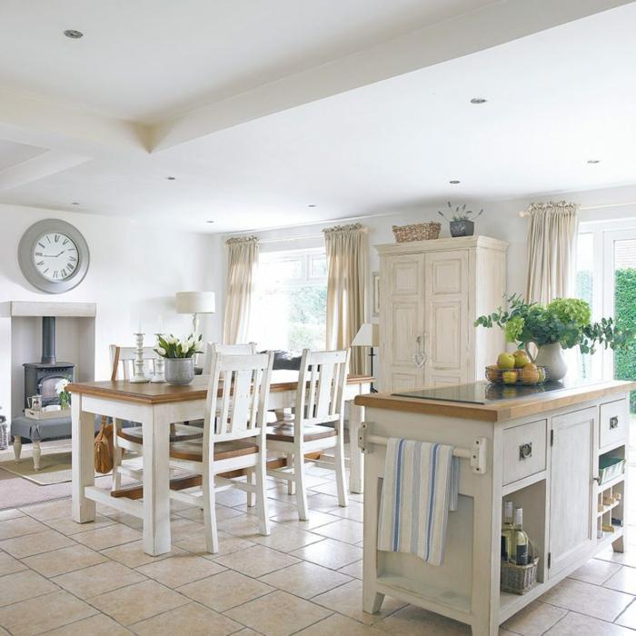 cocinas blancas decoradas en estilo rústico moderno, cocina comedor con isla con barra y armarios