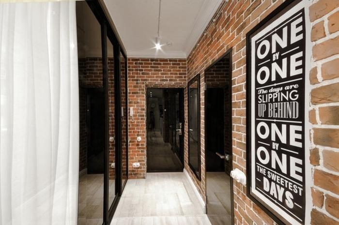 propuesta moderna en estilo industrial, como decorar un pasillo largo y estrecho para conseguir un estilo moderno