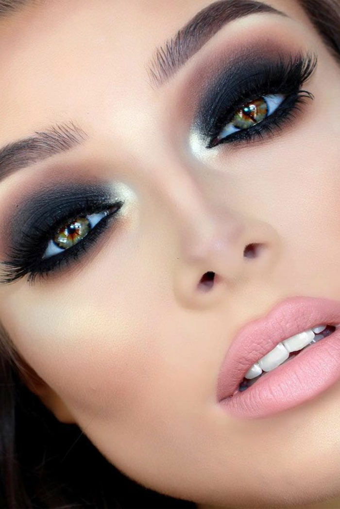 maquillaje ojos paso a paso, ideas de maquillaje nocturno, ojos ahumados y labios en rosado mate