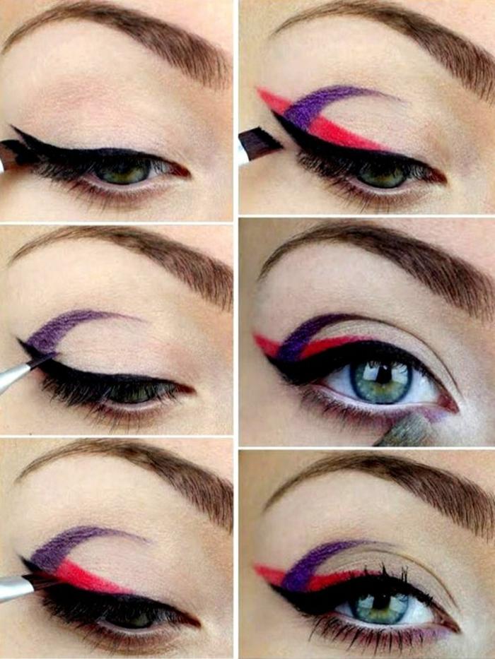 ideas extravagantes sobre como pintarse los ojos según las últimas tendencias, raya del ojo en negro, rojo y lila