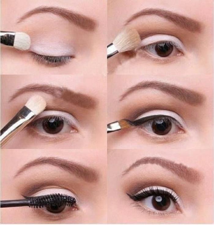como maquillar ojos para una ocasión formal, raya del ojo en negro y sombras suaves en colo rosa
