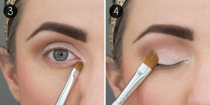 ideas sobre como pintarse los ojos para un maquillaje de día paso a paso, aplicar sombras en rosado claro