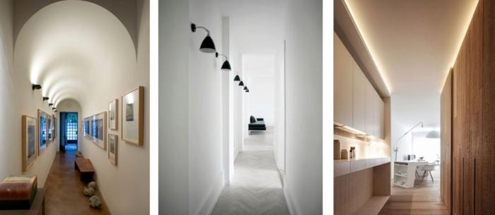 tres propuestas para decorar pasillos estrechos en estilo moderno, corredores decorados en estilo minimalista