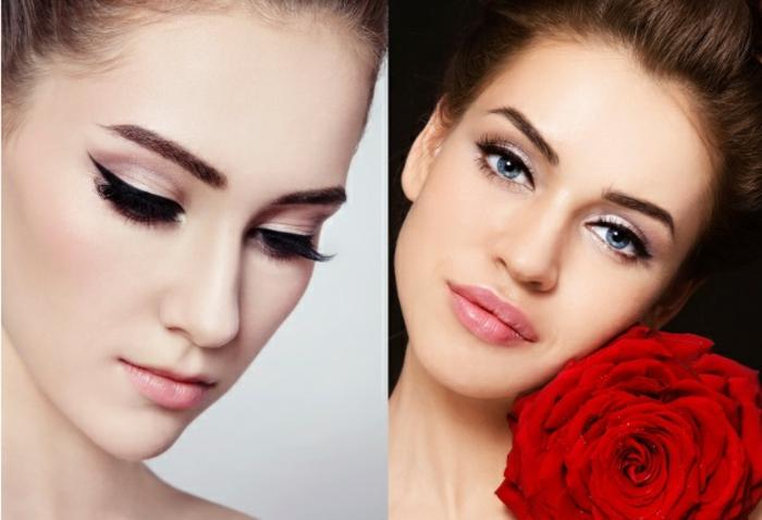 dos versiones de maquillaje de ojos clásico, como maquillar ojos con delineador en gel negro paso a paso