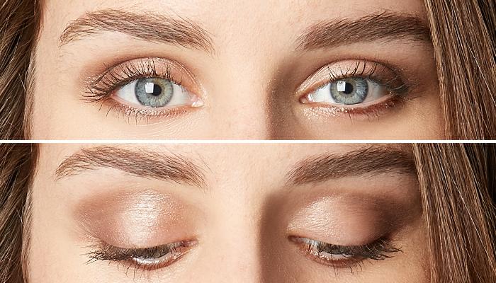 maquillaje paso a paso para una apariencia casual, ojos con sombras en dorado y rimel marrón