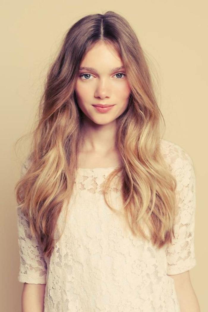 melena larga con mechas balayage cortes de pelo para cara alargada, cabellera corte de pelo degradado