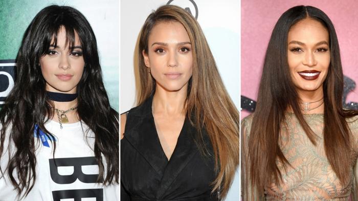 tres ejemplos de corte de pelo largo, cortes de pelo para cara alargada, tendencias peinados 2018