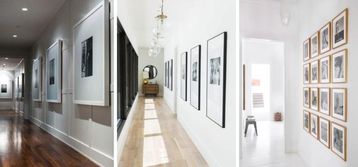 tres variantes de decorar pasillos estrechos con cuadros, muros de cuadros, ejemplos de pasillos modernos