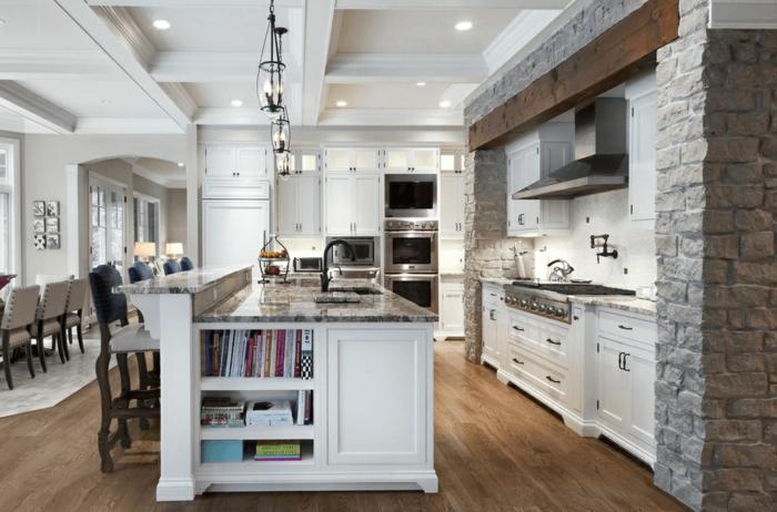 cocinas blancas encantadoras decoradas en estilo rústico moderno, grande isla comedor con estantes