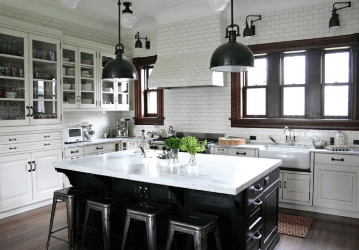 cocinas modernas fotos, cocina con grande isla en blanco y negro, decoración en estilo industrial