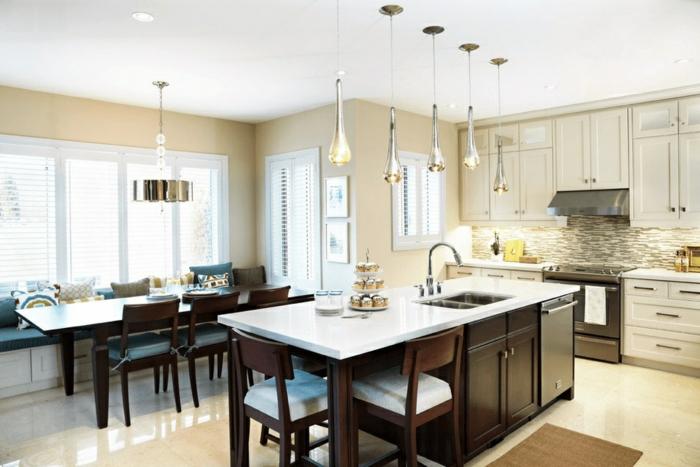cocinas modernas fotos, cocina comedor con isla multifuncional con barra mesa, lavabos y armarios