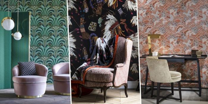 propuestas atrevidas decoración salón, papel decorativo para pared ornamentado, muebles de diseño