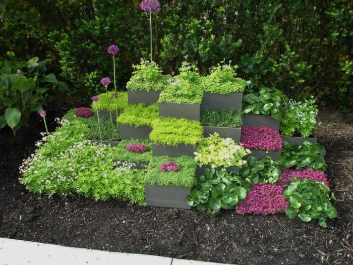 bonitas ideas de decoración de jardines y decoracion porches, jardineras modernas con plantas verdes bajas y flores