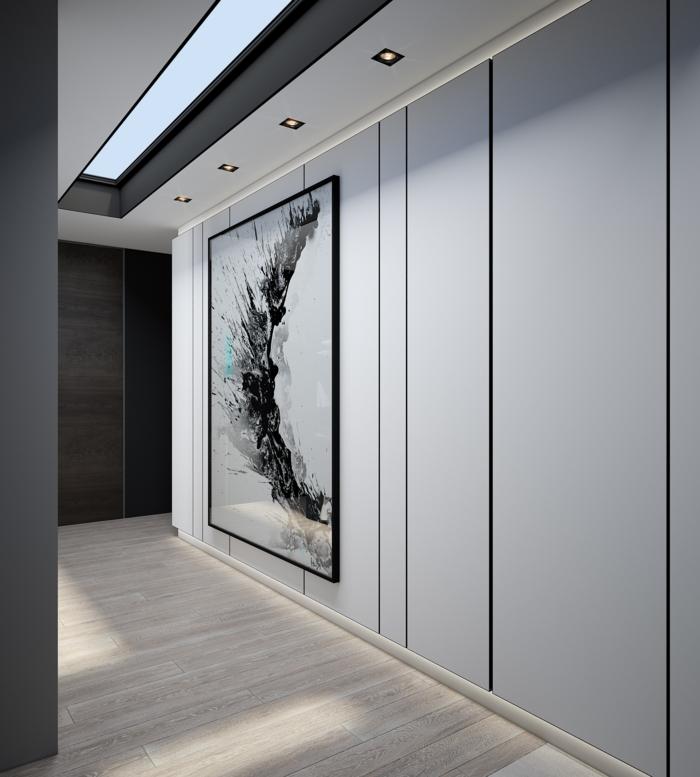 ejemplo de decoración pasillo moderna y sofisticada en gris, grande pintura en la pared y luces empotradas, pintar pasillo moderno