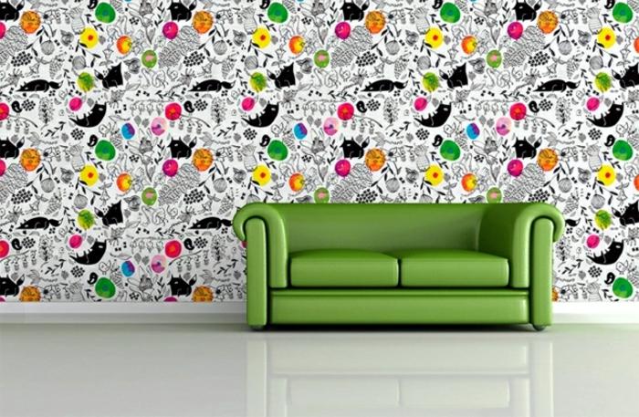 papel decorativo para pared en colores llamativos, propuestas originales decoración salon estilo minimalista