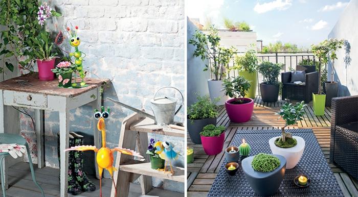dos ejemplos de terrazas decoradas con muchas plantas verdes y figuras decorativas para patios con piscina
