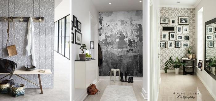 preciosas ideas de decoración con papel pintado pasillo, tres propuestas en colores terrestres