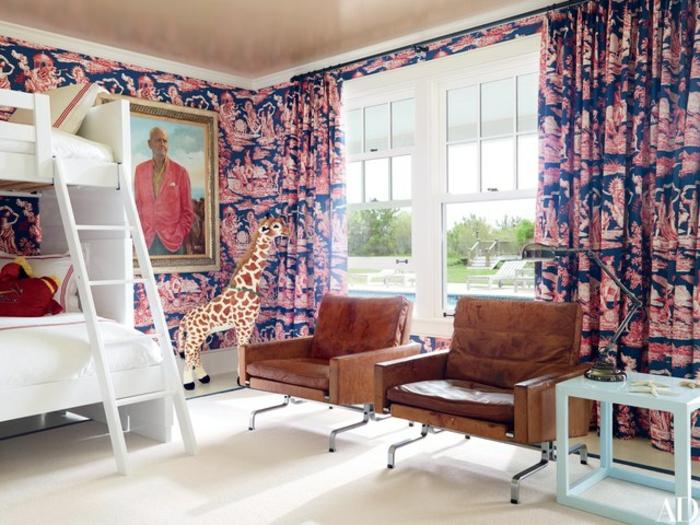 decoracion de habitacion infantil con paredes y cortinas en el mismo estampado, papel para forrar muebles ideas