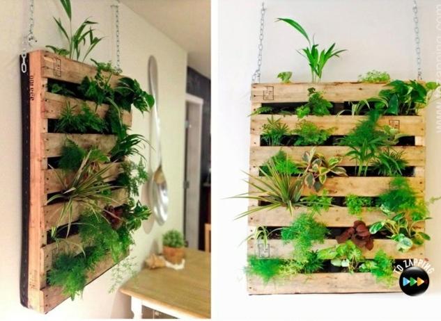ideas de jardineras de palets fáciles de hacer para decorar la casa, jardineras verticales colgantes con plantas verdes