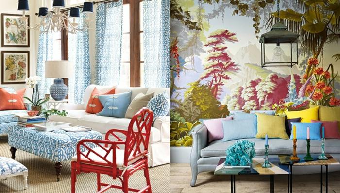 papel para forrar muebles y paredes, dos ejemplos de espacios decorados en estilo vintage con muchos detalles coloridos