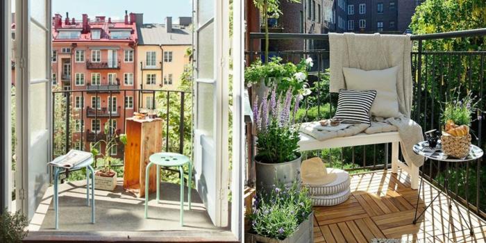 dos ejemplos de decoracion balcones pequeños con suelo de parquet, plantas verdes y muebles DIY