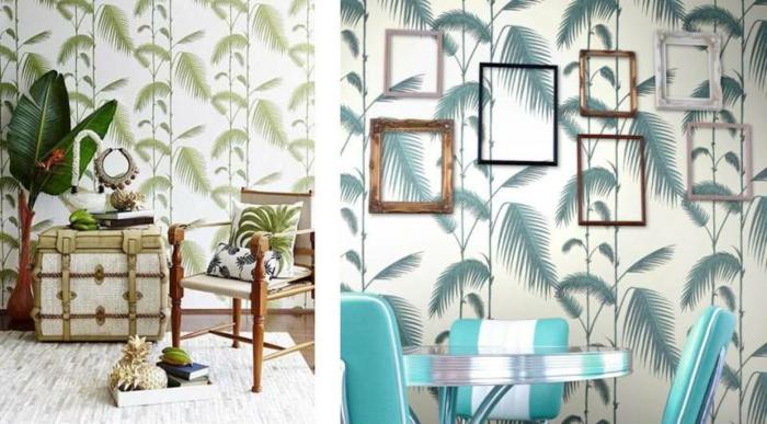 papel para forrar muebles y paredes con estampado de hojas, ideas de decoracion en estilo bohemio