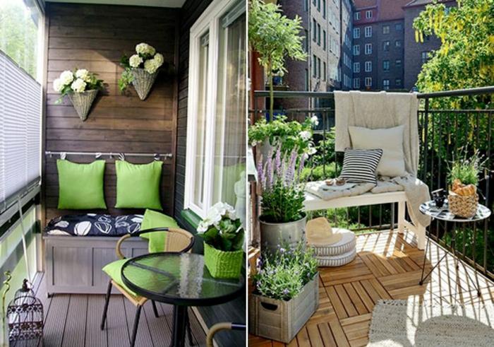 terrazas pequeñas decoradas de encanto con suelo de madera y pequeños muebles de diseño, decoración de flores original