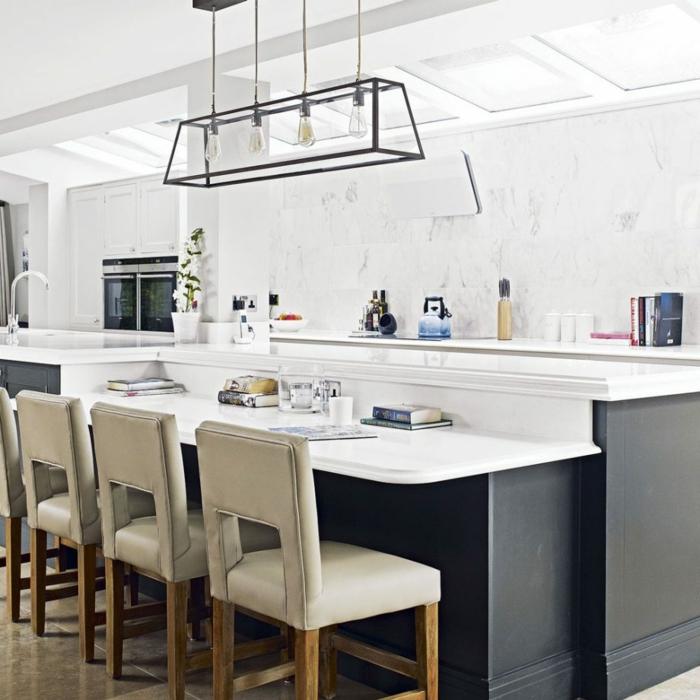 cocinas pequeñas decoradas en blanco, elegante diseño isla original, cocina comedor moderna