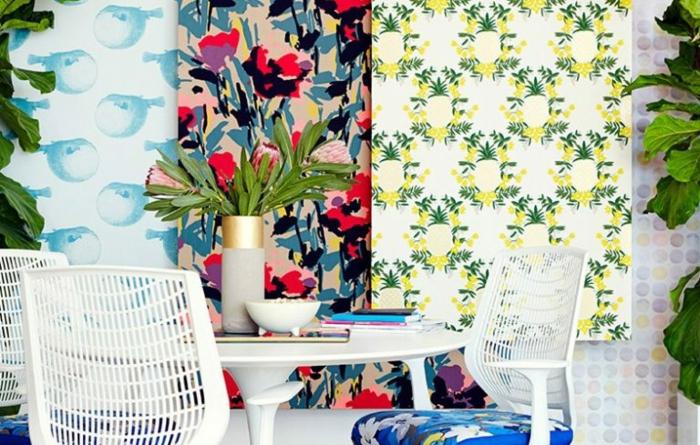ejemplos de decoracion de comedores modernos, tres cuadros decorativos con papel pintado adhesivo colorido